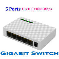 Mini 5-port desktop gigabit switch rápido ethernet switcher rede switch 1000 mbps lan hub adaptador completo ou meia troca duplex