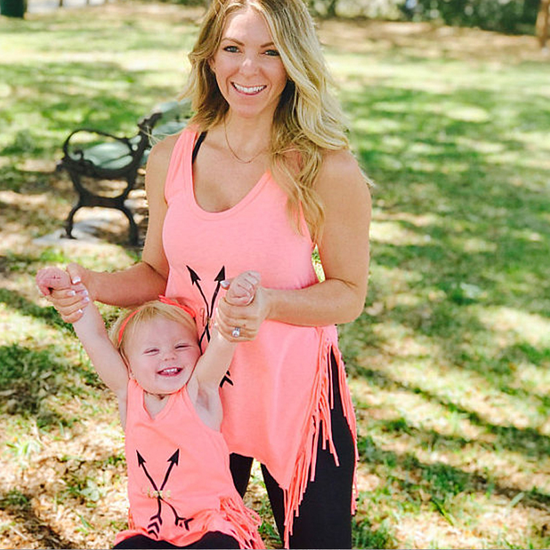 New Mother Daughter Summer Matching Clothes Mom Girl Sleeveless Vest Top T Shirt Tassels Casual Beach Outfits Cotton