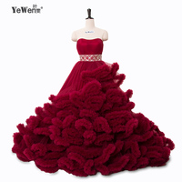 Real Photo Winter Luxury Pregant Top Quality Lace Up Cloud Puffy Wedding Dress Burgundy Bridal Gowns