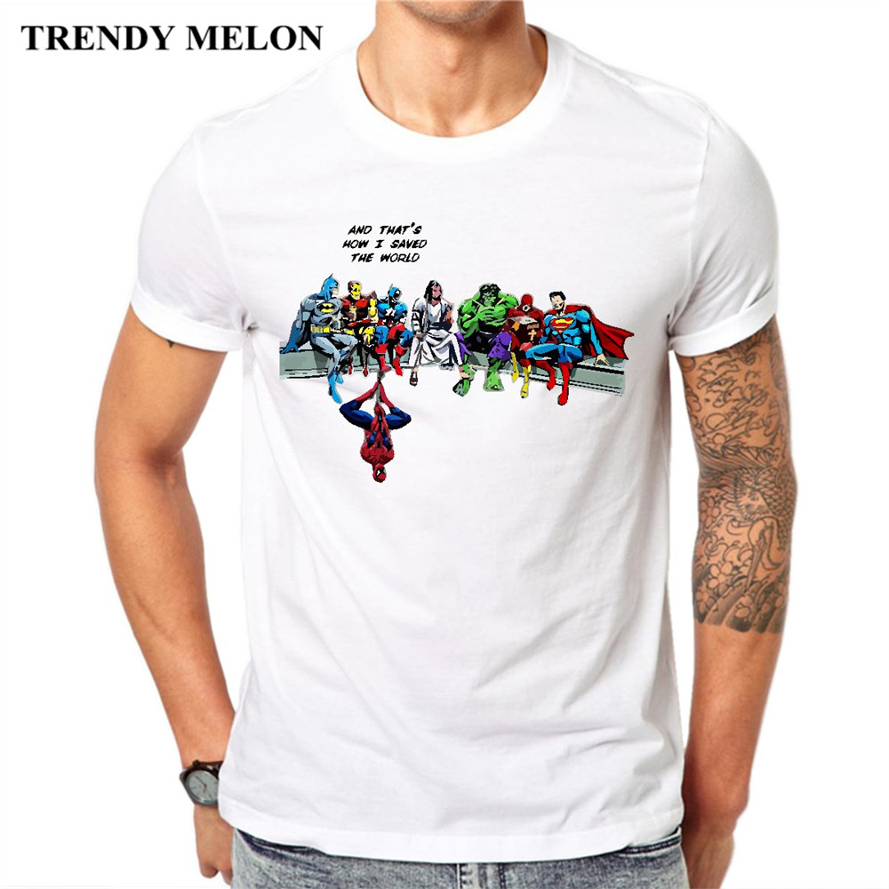 Trendy Melon Funny T shirt Men Thats How I Saved The World Jesus Cool Customized Tshirt Cotton White Tops Novelty Tees MJ01