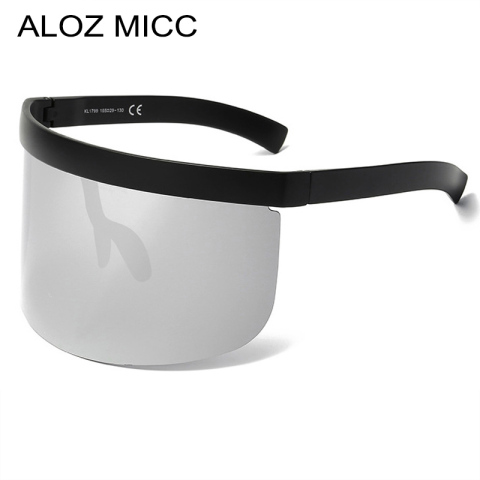 ALOZ MICC Women Oversize Shield Visor Sunglasses Vintage Rimless Sunglasses Women Men Flat Top Eyewear UV400 Q142 Pakistan
