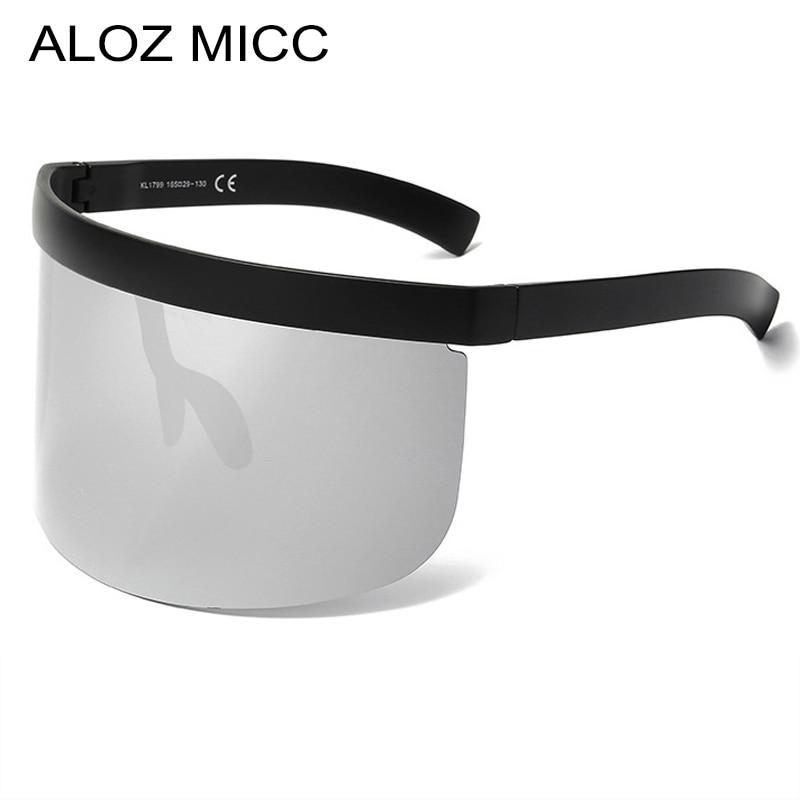 ALOZ MICC Women Oversize Shield Visor Sunglasses Vintage Rimless Sunglasses Women Men Flat Top Eyewear UV400 Q142