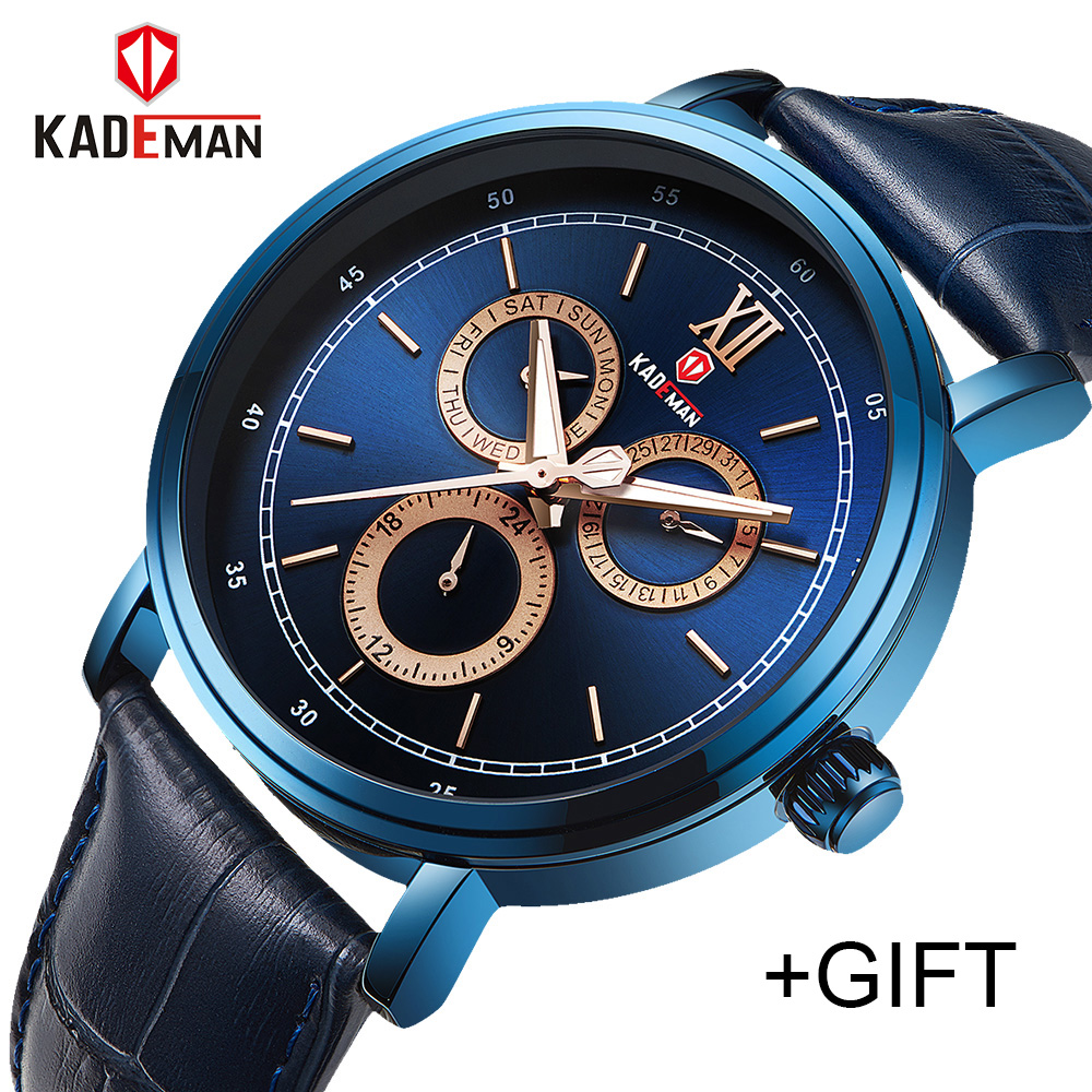 KADEMAN Men Fashion Casual Watches Top Luxury Brand Men's Quartz 24 Hours Date Clock Man Leather Waterproof Sports Wrist Watch цена