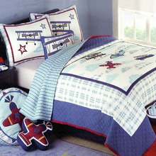 CHAUSUB Cute Kids Quilt Set 2PCS Cotton Quilts Handmade Patchwork Bedspread Sheet Bed Cover bedding Airplane Pattern Coverlets