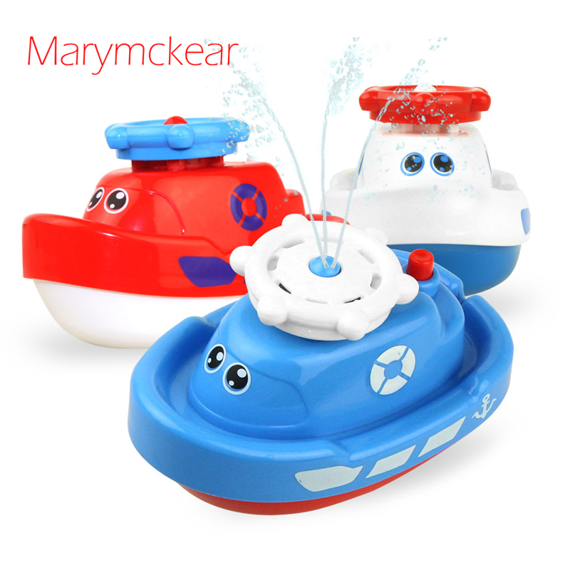 Honest Cute Cartoon Style Boat Toy Water Spraying Tool Bath Toy For Boys/ Girls Boat Toy 1 Pc In White/ Red/ Blue 3 Colors Pumping