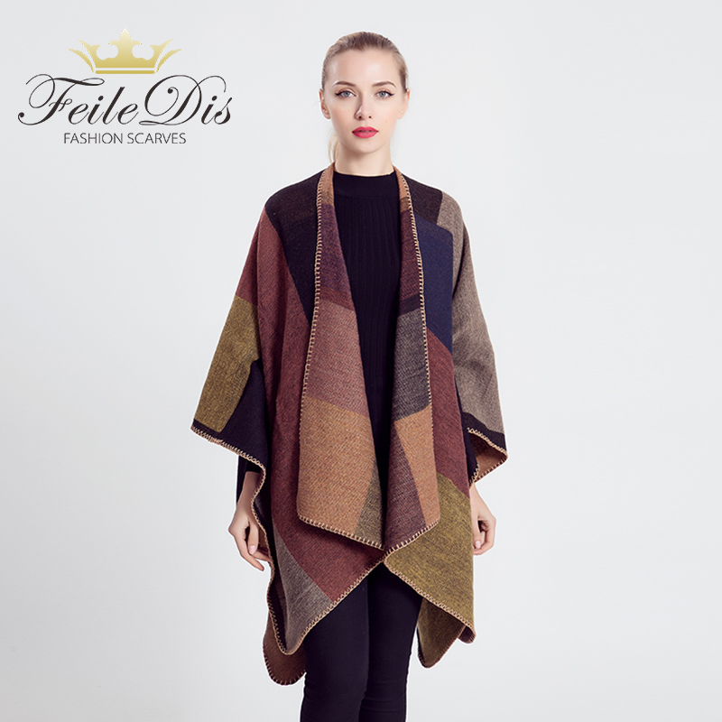[FEILEDIS]2018 New Brand Women's Winter Poncho Vintage Blanket Women's Lady Knit Shawl Cape Cashmere Scarf M1644
