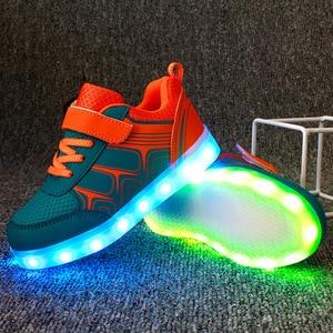 Image 4 - גודל 25 37 ילדים סניקרס עם אור זוהר סניקרס בד נעלי סניקרס הזוהר עבור בני בנות Krasovki עם תאורה אחורית