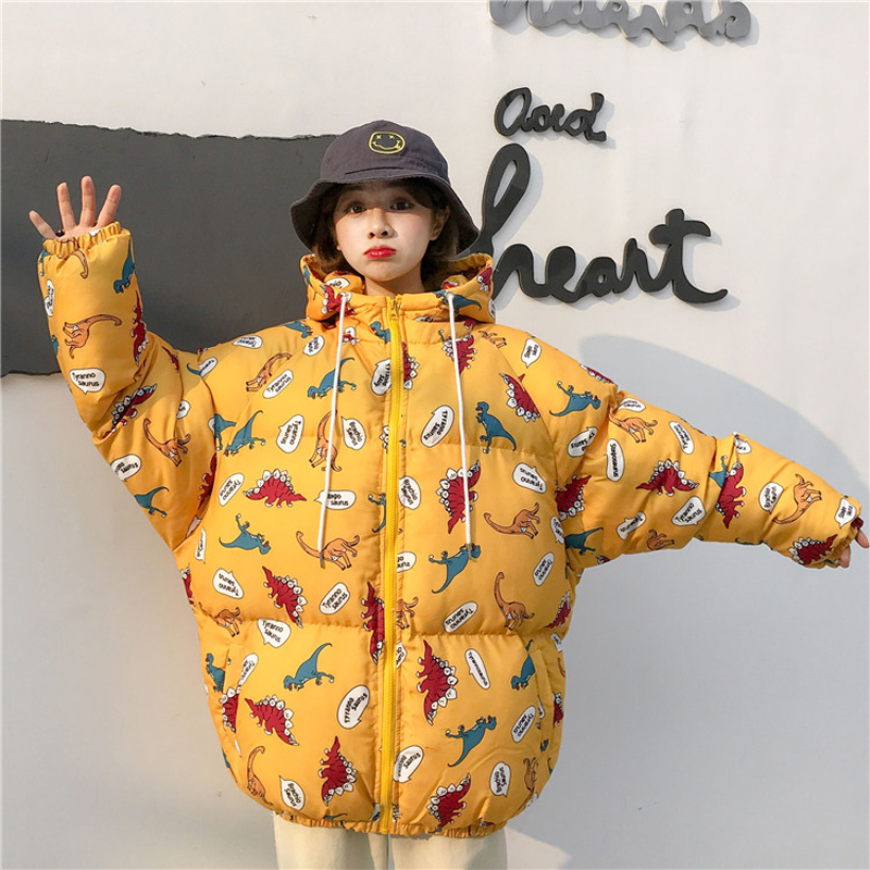Streetwear Weird girl Winter New loose hooded dinosaur print women cotton   parkas   cotton bread coat down jacket female