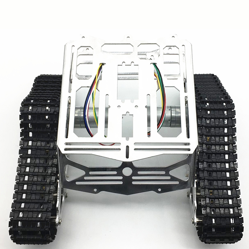 JMT DIY Tracked Robot Aluminum Chassis Intelligence Car Platform with Dual DC Motor Spare Parts цена