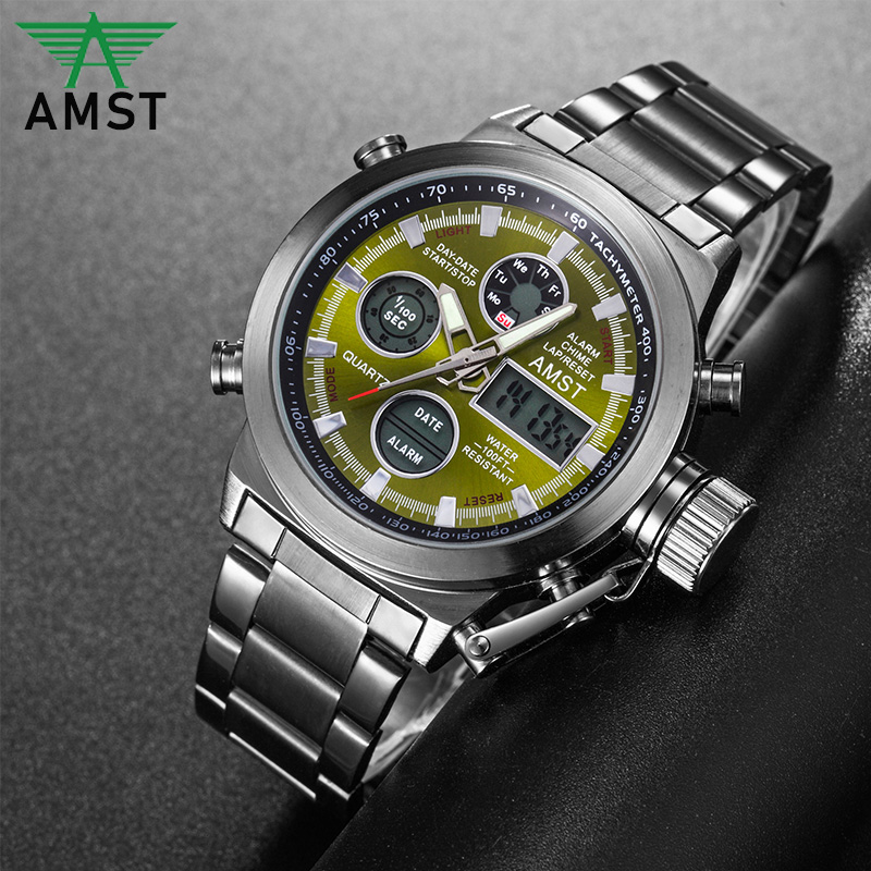 AMST 2019 New Men's Wristwatch Clock Digital Dual Display Watch Male Multi-function Quartz Clock 50M Waterproof Chronograph