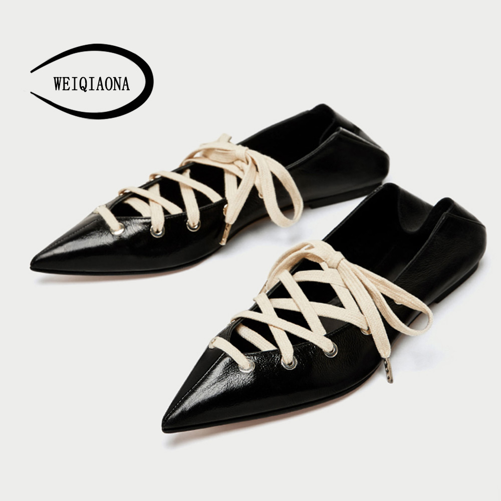 WEIQIAONA 2018 New Women's shoes Fashion casual ladies flats sheep leather pointed toe shallow Female Half drag lazies shoes 2017 summer new fashion sexy lace ladies flats shoes womens pointed toe shallow flats shoes black slip on casual loafers t033109