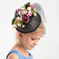 Charm Black Wedding Flower Fascinator Hat Women Linen Hair Ornaments Headpiece Bridal Wedding Floral Fascinator Accessories Gift