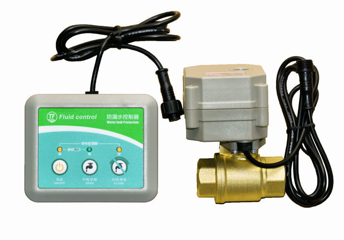 Water leakage controller  with DN25 brass electric valve, 3VDC water leak alarm device, water leakage control box 1 2 built side inlet floating ball valve automatic water level control valve for water tank f water tank water tower