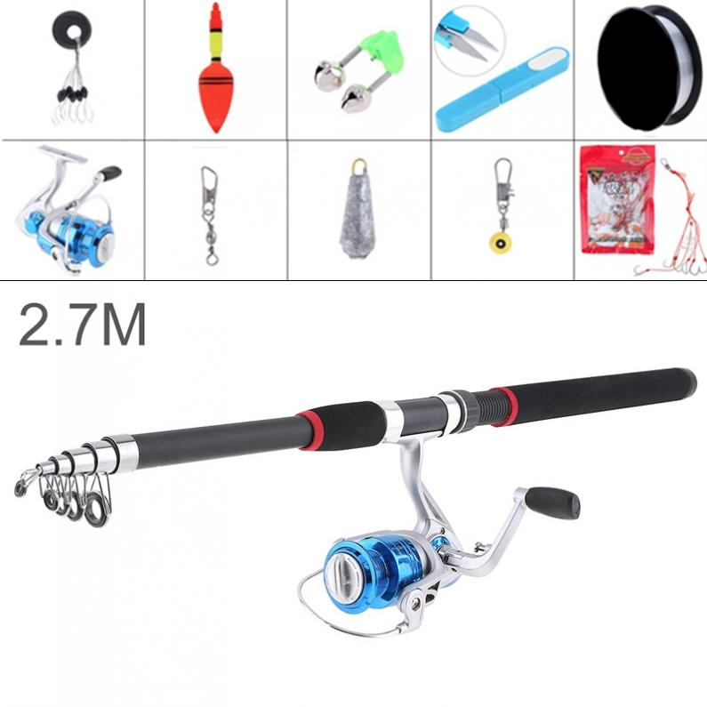 2.7m Fishing Rod Reel Line Combo Full Kits 3000 Series Spinning Reel with Holder Scissors Fishing Float Hooks Lead weight Etc