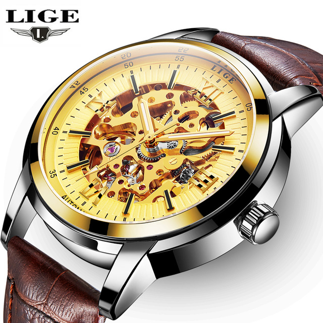 где купить  LIGE Luxury Fashion Mens Watches Sports Automatic Mechanical Watch Casual Leather Waterproof Wristwatch Relogio Masculino  по лучшей цене