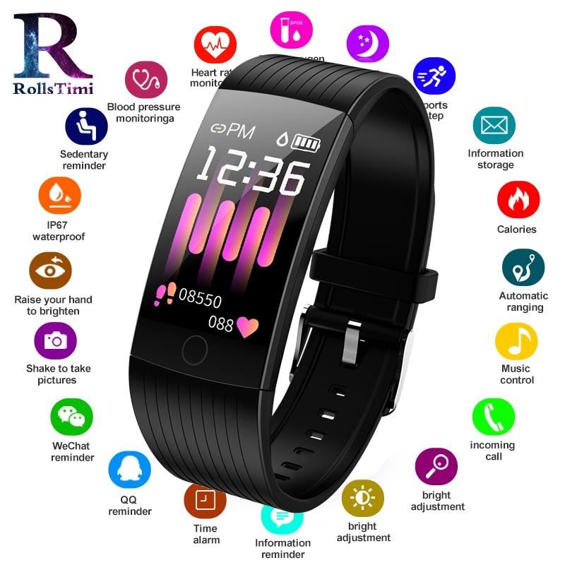 Rollstimi Mens Sports Bracelets Smart Wrist Watches Heart Rate Monitor Waterproof Wristband Women Fitness Tracker Smartwatch Delicious In Taste Men's Watches