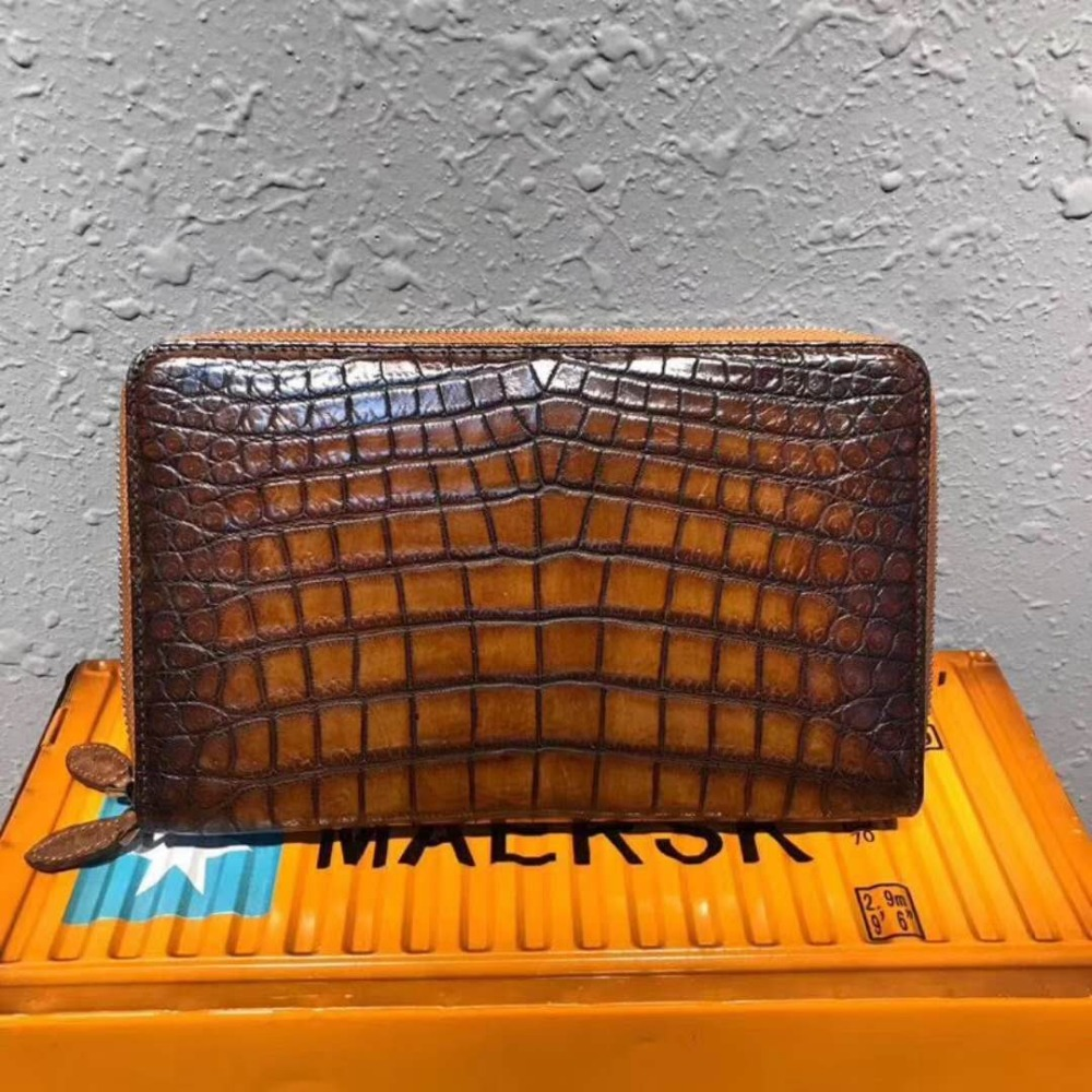 100% genuine real crocodile belly skin men wallet purse with double zipper closure excellent quality colorful crocodile belly