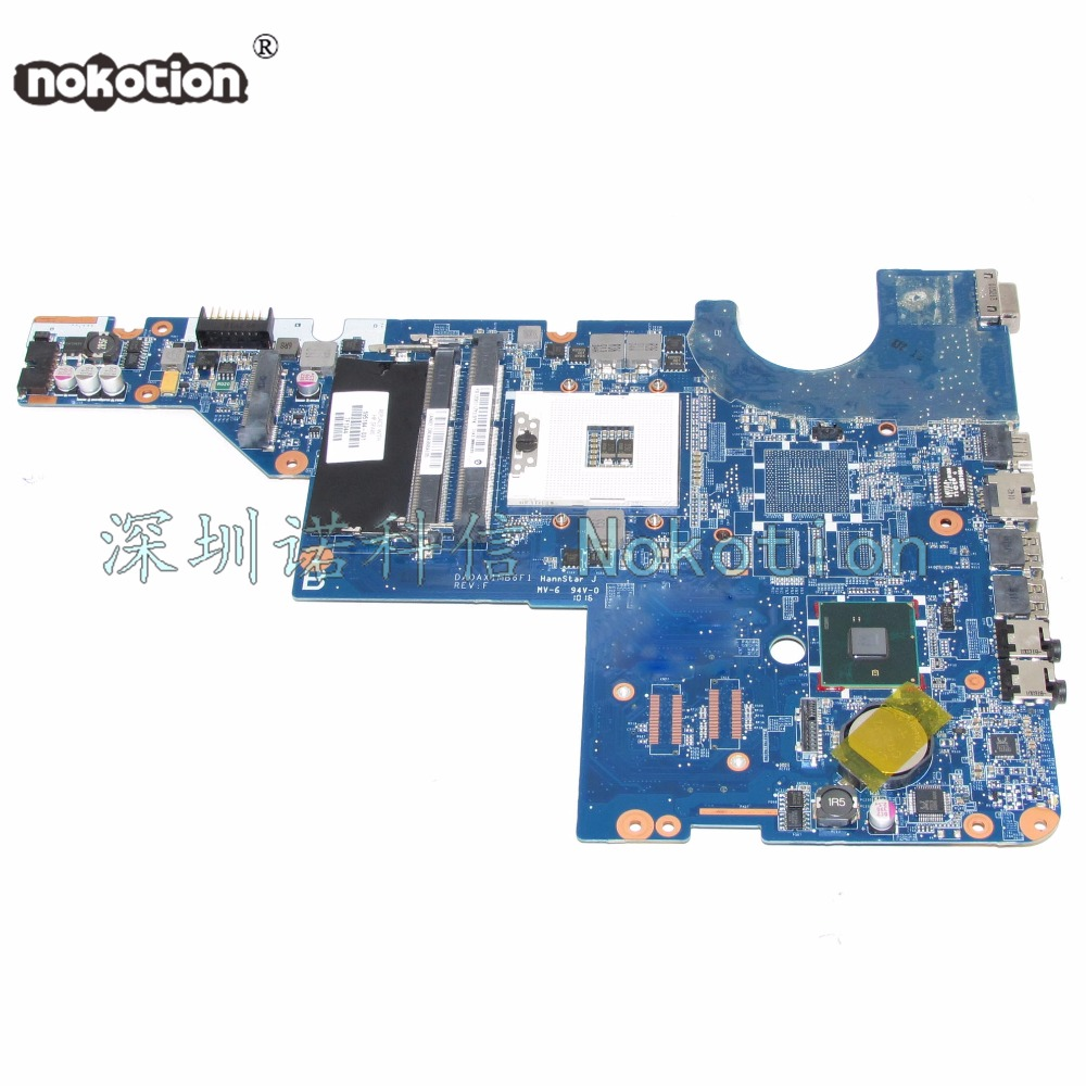 NOKOTION 595184-001 DA0AX1MB6H1 Laptop Motherboard for HP Pavilion G42 G62 Series s989 HM55  Mainboard Works 574680 001 1gb system board fit hp pavilion dv7 3089nr dv7 3000 series notebook pc motherboard 100% working