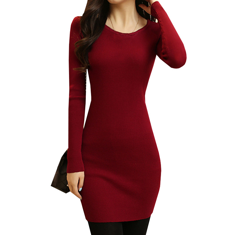 Sweater Dress New Autumn Winter Women O Neck Slim Knitted Dress Female Long Sleeve Sheath Bodycon Dresses Party Vestidos AB389