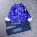 Novos Meninos Crianças Define Estilo Chinês para o Festival da Primavera Meninos Jaqueta ternos Superior T-camisa + Jean 2 pc terno para 2-8 Anos 2016 Novo 22