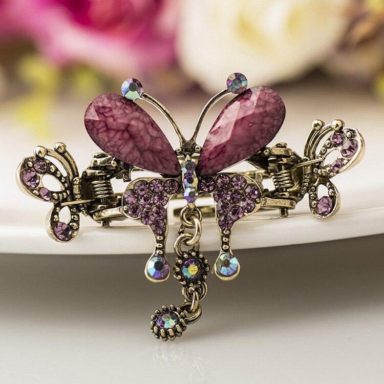 HTB1kskYMXXXXXc8XFXXq6xXFXXXs Vintage Women Turquoise Butterfly Flower Hair Barrette With Rhinestone Crystals - 5 Colors