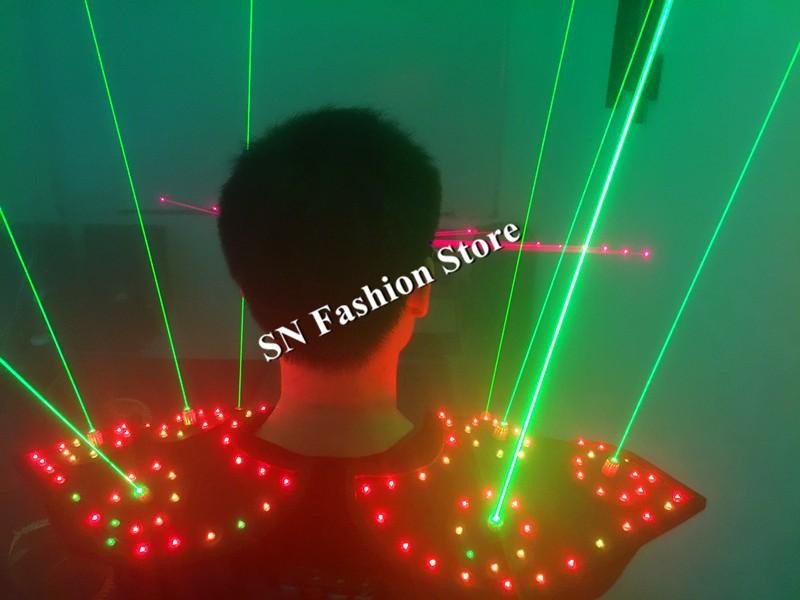 T16 Colorful light ballroom laser vest dj laser costumes dance wears laser glasses red laser suit led clothes shoulder led vest 22