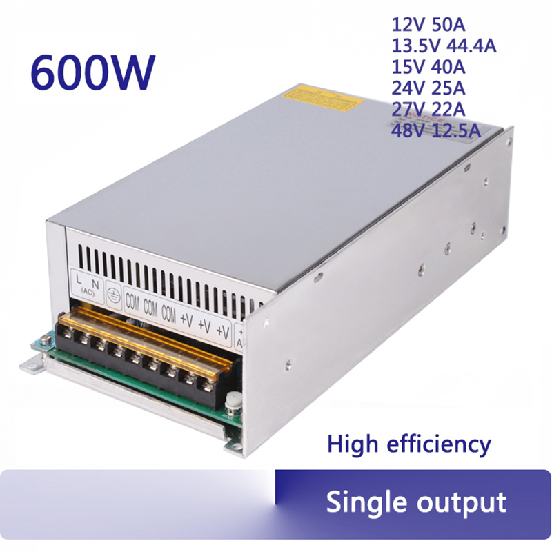 600W switching power supply psu 12V 13.5V 24v 27V 48V 25a adjustable 110/220v 230v single output 50/60HZ ac dc transformer S-600 ac 110 220v dc 48v power supply 48v 12 5a 600w ac dc high power psu 600w s 600 48