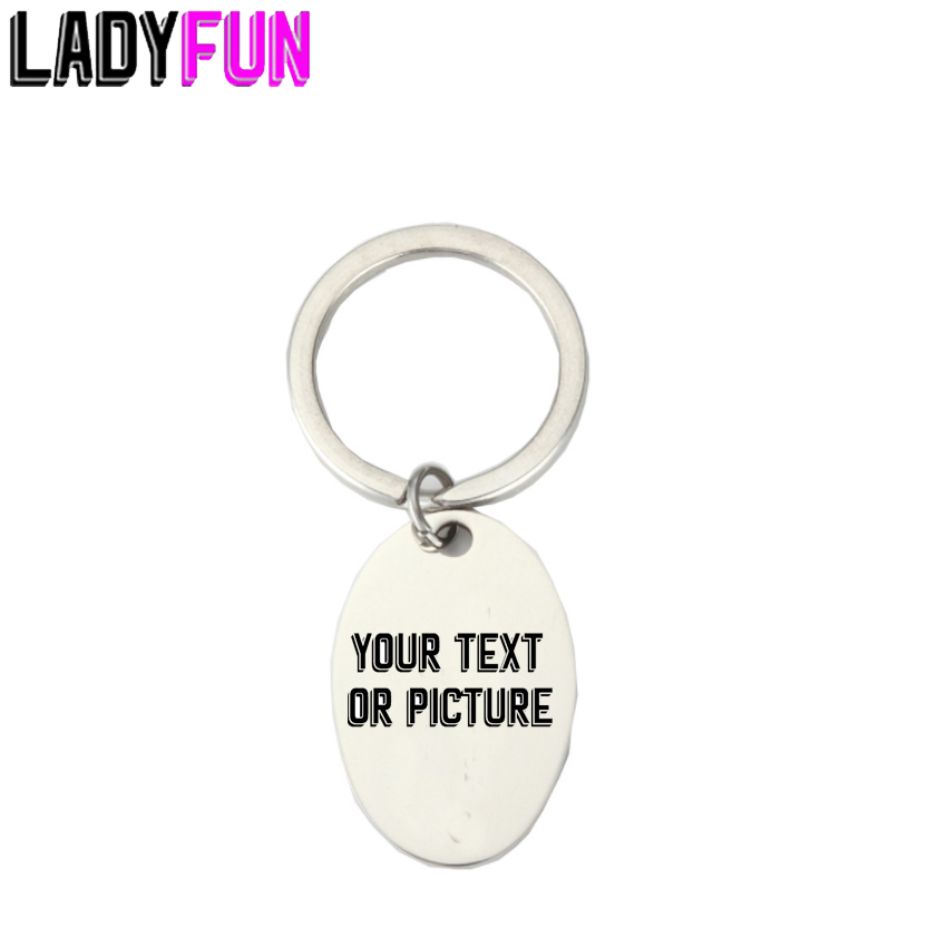 Personalized Custom Stainless Steel Oval Tag Keychain With Customized Logo Free Engrave