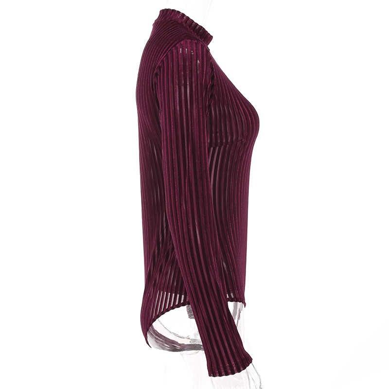 Weekeep женский вельветовый сетчатый полосатый сексуальный тонкий боди 2017 Тощий элегантный красный комбинезон с длинными рукавами модные комбинезоны Combinaison