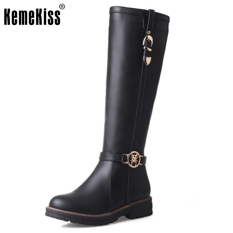 ФОТО Fashion Knee Boots Women Buckle Shoes Woman Low Heel Snow Short Fur Lining Winter Platform Knight Boot Mujer Size 34-43