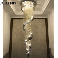 Deluxe Crystal Led Chandelier Hall Black Crystal Long Stair Lamp Lustre Cristal