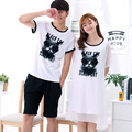 2017 spring and summer new fashion couple cotton pajamas cartoon cute Korean version of the big cotton couple pajamas