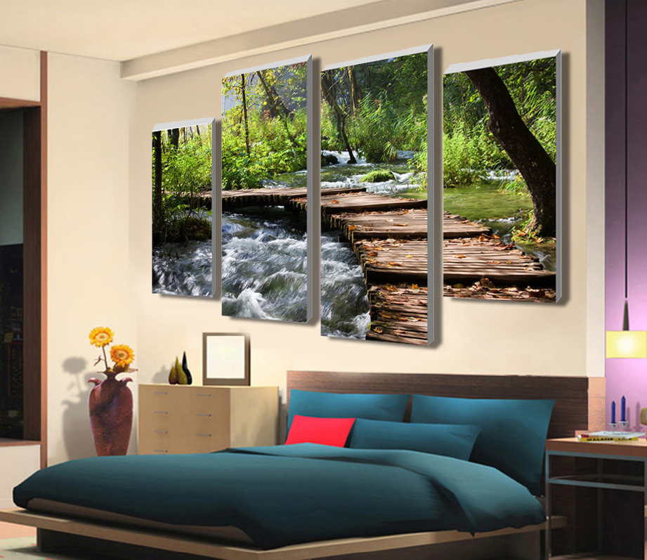 Painting Cuadros 4 Pcs Retro Waterfall Definition Pictures Unframed Home Decor Canvas For Living Room Large Hd Wall Art Modular In Calligraphy