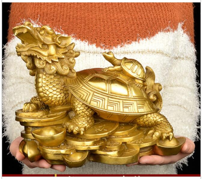 26 CM large # 2019  home protective-efficacious Talisman House Protection Money Drawing Dragon Turtle FENG SHUI Brass statue26 CM large # 2019  home protective-efficacious Talisman House Protection Money Drawing Dragon Turtle FENG SHUI Brass statue