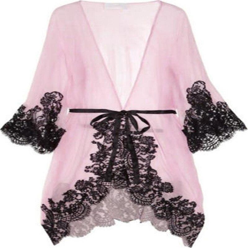 Lace   Nightgowns     Sleepshirts   Sexy Sleepwears for Women Long Sleeve Summer Dresses Babydoll Sleepwear Nightwear Vestidos Size S-L