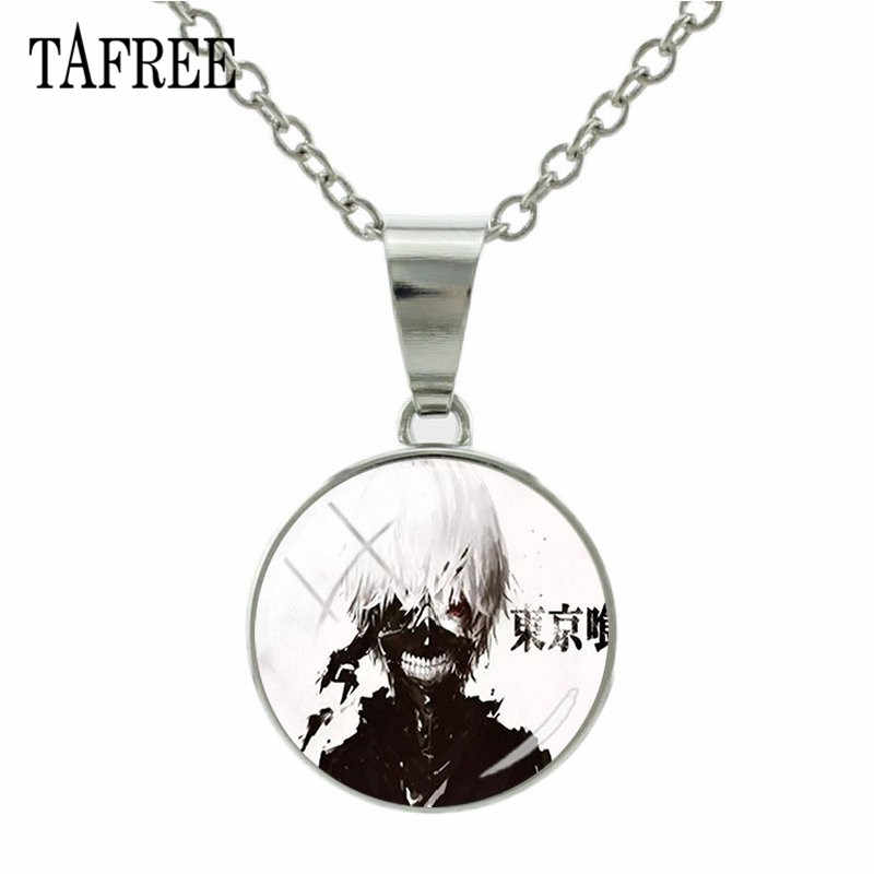 TAFREE Fashion Anime Tokyo Ghoul Necklaces Glass Cabochon Snap Button Necklace Pendant For Anime lover Jewelry Gift QF268