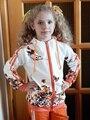 2017 Niñas Primavera Ropa Chaqueta Floral Cabritos de Los Hoodies + Pants Niños Chándal Para Niñas Sistemas de la Ropa Muchachas del Juego Del Deporte 291