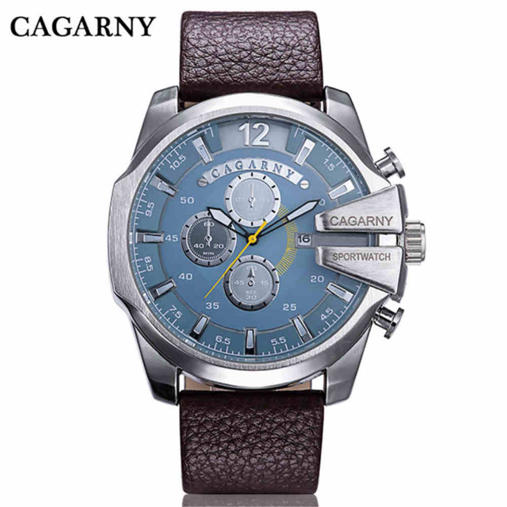 CAGARNY Top Brand Man Watches Design Electronic Leather Belts Men Bracelets Watches Clock Men Leather Watchband Wristwatches