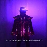Цветные, светодиодные, Светящиеся одежда шляпа творческая Производительность реквизит костюм для ночного клуба, бара, DJ электронный фестив