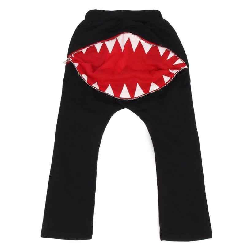 2018 Hot Sale Da Moda Bonito Das Crianças Das Crianças Meninos Meninas Zipper Dentes de Tubarão Harem Pants Calças Roupas Agasalho 6 .. 7