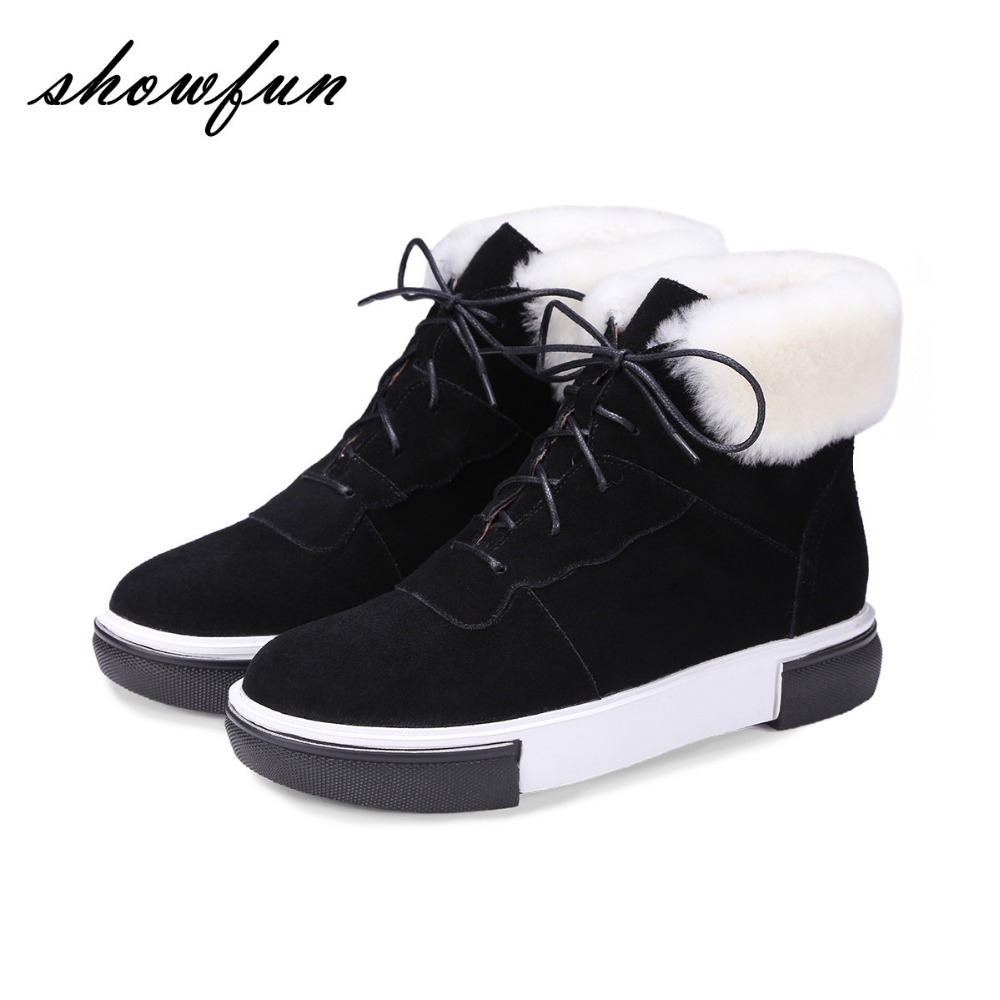 Women's Genuine Suede Leather Lace-up Winter Ankle Boots Brand Designer Leisure Wool Flats Sneakers Short Booties Shoes Women front lace up casual ankle boots autumn vintage brown new booties flat genuine leather suede shoes round toe fall female fashion