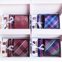 رجل العلاقات للرجال أزياء مجموعة الزفاف البوليستر الحرير القوس التعادل شريط التعادل العنق المنديل cufflinks هدية مربع التعبئة kz01
