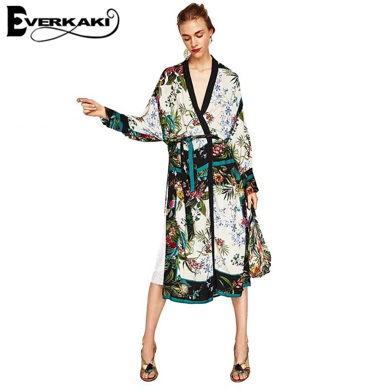 Everkaki Women Floral Leaf Print Kimono Coat Jacket Loose Belt Long Batwing Sleeve Long Jackets Female 2018 Spring New Fashion
