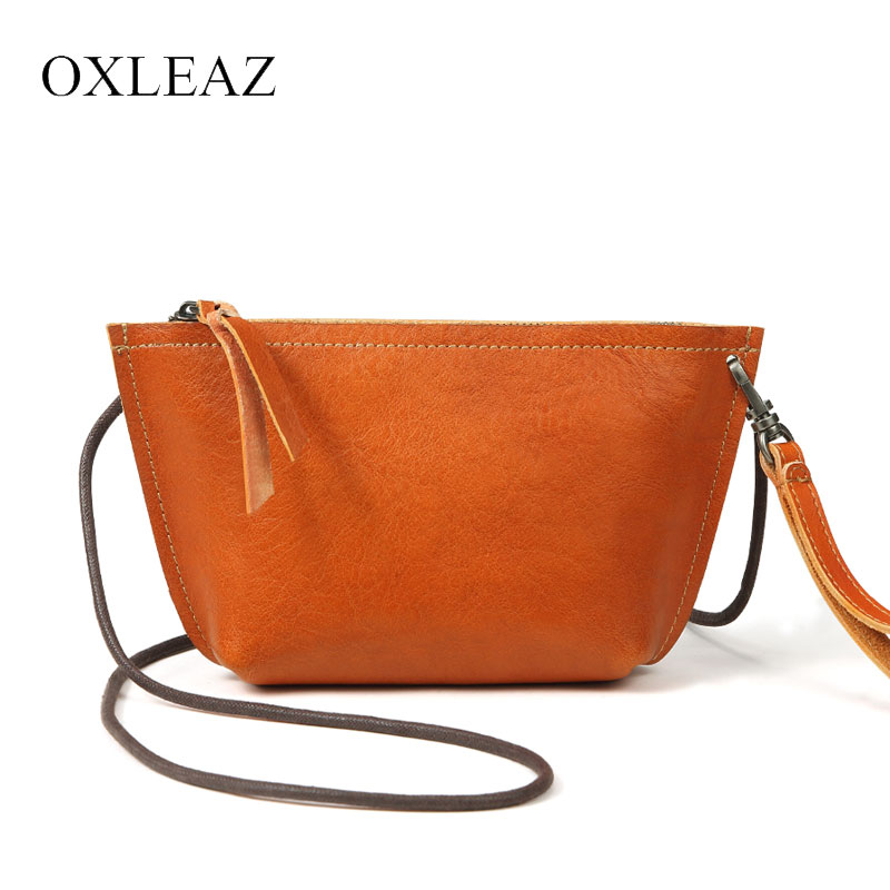 OXLEAZ Small Woman Bag 2018 Shoulder Clutch Purse Vintage Women Crossbody Bag Genuine Cow Leather Ladies Hand Bags with Wristlet