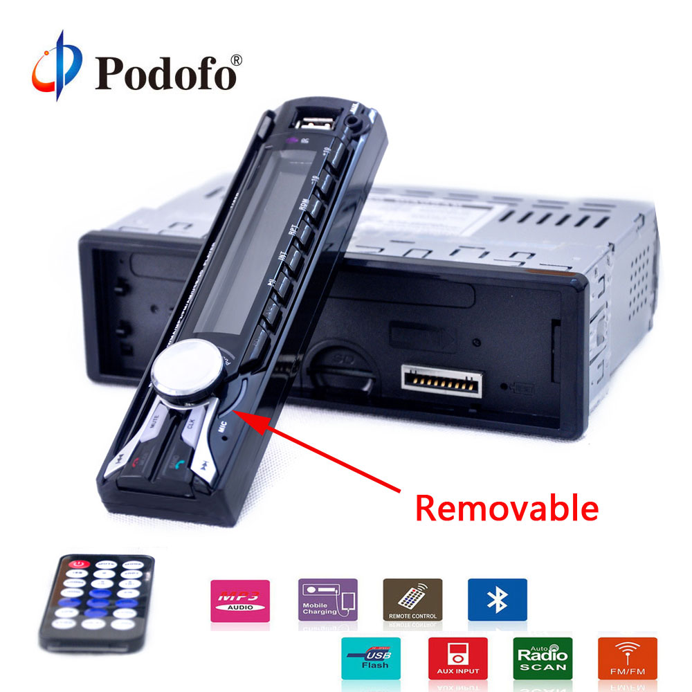 Podofo autoradio 12V Car Radio Bluetooth 1 din car stereo Player AUX/MP3 FM/USB V2.0 Detachable Front Panel Auto Audio Stereo