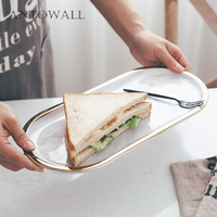 ANTOWALL Marble Gold Inlay Oval Ceramic Smooth Plate Cosmetic Storage Tray Dessert Breakfast Display Plate