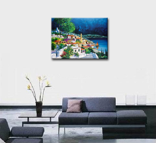 Clean City Picture Oil Painting Home Decoration Wall Art High Quality Reproduction Canvas Pictures Gift For Friends In Calligraphy From