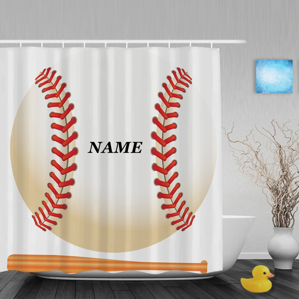 Aliexpress.com : Buy Baseball Game Shower Curtain Customize Name Decor  Bathroom Shower Curtains Polyester Waterproof Fabric With Hooks From  Reliable Shower ...