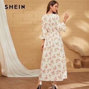 Image 3 - SHEIN Wit V hals Bloemenprint EEN Lijn Boho Lange Jurk Vrouwen Vakantie Herfst Flounce Mouw Ruches Flared Elegante Maxi jurken
