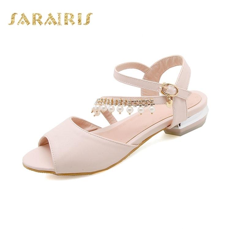 32 Peep Boucle Taille Bas Talons Femme Toe Bracelet Chaussures blanc Chunky 44 Perles Rose Ouvert pourpre Mode Grande Sandales Up Sarairis D'été cwqpaTCxx